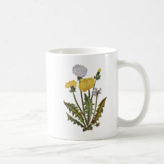 Crewel Embroidered Golden Dandy Lions Coffee Mug