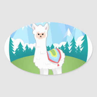 Cria The Alpaca Oval Sticker