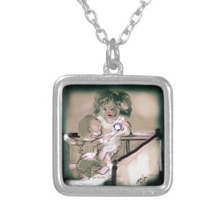 Crib Catch Vintage Style Silver Plated Necklace