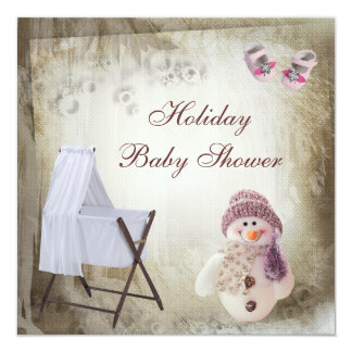 Crib & Pink Snowman Holiday Baby Shower Card