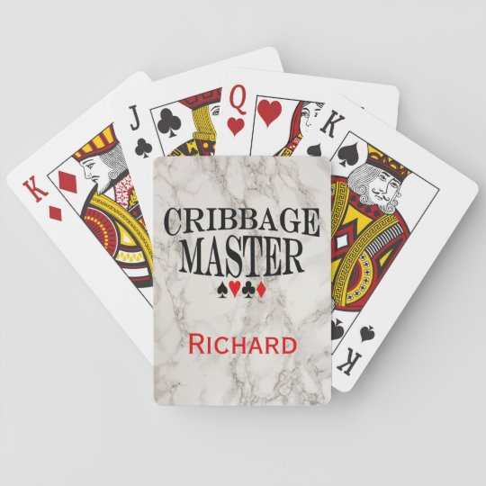 Cribbage Master on Marble Personalized Playing Cards