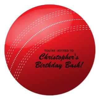 "Cricket Ball Birthday Party 5.25"" Square Invitation Card"