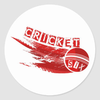 Cricket Ball Hit For Six Classic Round Sticker