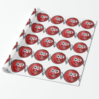 Cricket Ball Mascot Wrapping Paper