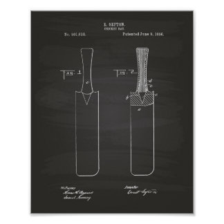 Cricket Bat 1886 Patent Art Chalkboard Poster