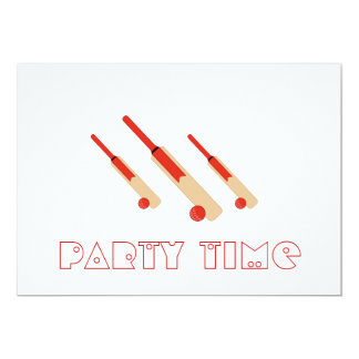 Cricket Bats and Balls Party Time Invitation