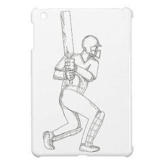 Cricket Batsman Batting Doodle Art Case For The iPad Mini