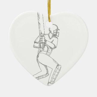 Cricket Batsman Batting Doodle Art Ceramic Ornament