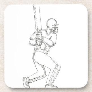 Cricket Batsman Batting Doodle Art Coaster