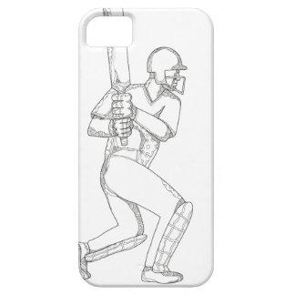 Cricket Batsman Batting Doodle Art iPhone 5 Case
