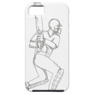 Cricket Batsman Batting Doodle Art iPhone 5 Cover