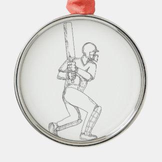 Cricket Batsman Batting Doodle Art Metal Ornament