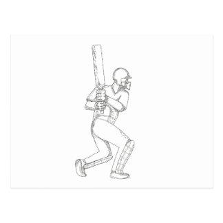 Cricket Batsman Batting Doodle Art Postcard