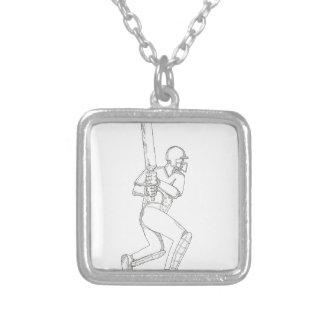 Cricket Batsman Batting Doodle Art Silver Plated Necklace