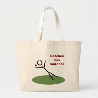 """Cricket: """"Catches win matches"""" caption Large Tote Bag"""