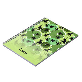 Cricket Floral Pattern Green + Black Notebooks