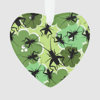 Cricket Floral Pattern Green + Black Ornament