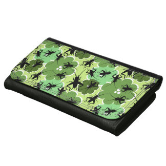 Cricket Floral Pattern Green + Black Wallet