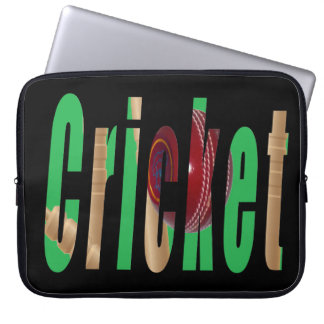 Cricket Game Logo, 15 inch Laptop Sleeve