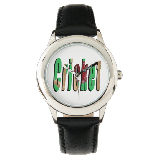 Cricket Game Logo, Kids Black Leather Watch