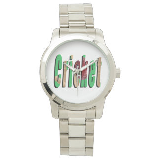 Cricket Game Logo, Large Unisex Silver Watch