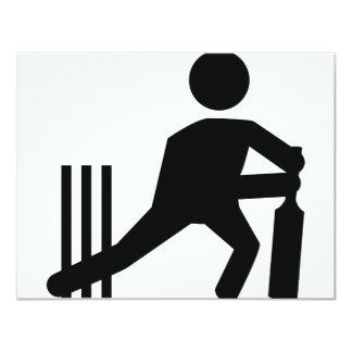 """cricket icon 4.25"""" x 5.5"""" invitation card"""