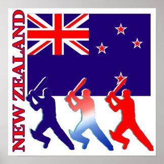 Cricket New Zealand Poster