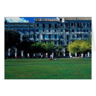 Cricket pitch on the esplanade, Corfu, Greece Card