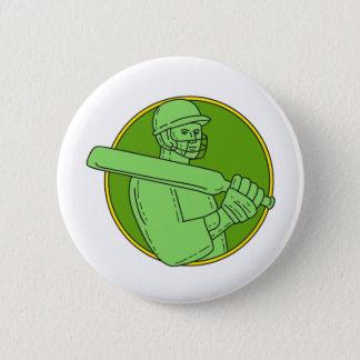 Cricket Player Batsman Circle Mono Line 2 Inch Round Button