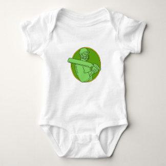 Cricket Player Batsman Circle Mono Line Baby Bodysuit