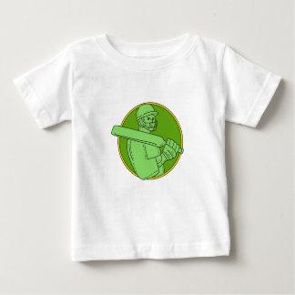 Cricket Player Batsman Circle Mono Line Baby T-Shirt