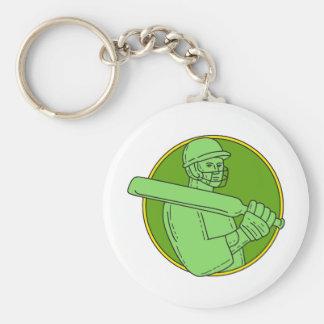Cricket Player Batsman Circle Mono Line Basic Round Button Keychain