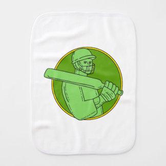 Cricket Player Batsman Circle Mono Line Burp Cloth