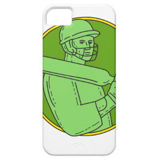 Cricket Player Batsman Circle Mono Line Case For The iPhone 5