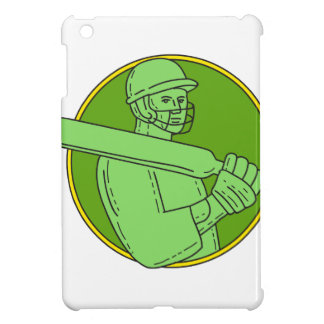 Cricket Player Batsman Circle Mono Line iPad Mini Covers