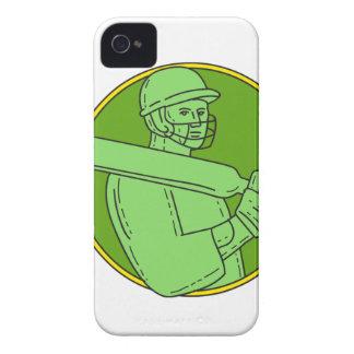 Cricket Player Batsman Circle Mono Line iPhone 4 Case-Mate Case