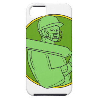 Cricket Player Batsman Circle Mono Line iPhone 5 Covers