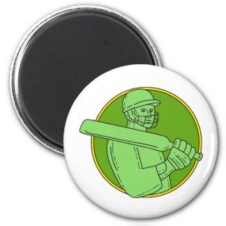Cricket Player Batsman Circle Mono Line Magnet