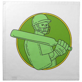 Cricket Player Batsman Circle Mono Line Napkin