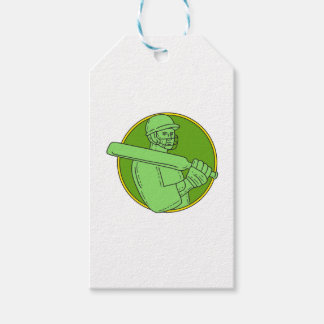 Cricket Player Batsman Circle Mono Line Pack Of Gift Tags