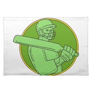 Cricket Player Batsman Circle Mono Line Place Mat