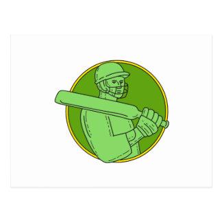 Cricket Player Batsman Circle Mono Line Postcard