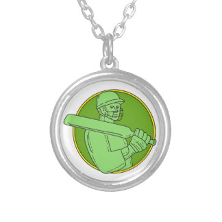 Cricket Player Batsman Circle Mono Line Silver Plated Necklace