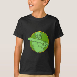 Cricket Player Batsman Circle Mono Line T-Shirt