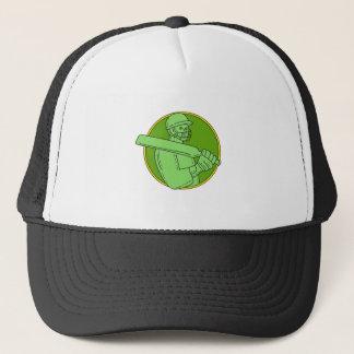 Cricket Player Batsman Circle Mono Line Trucker Hat