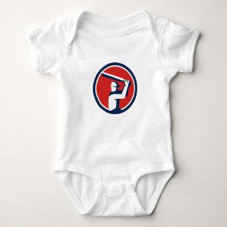 Cricket Player Batting Circle Retro Baby Bodysuit