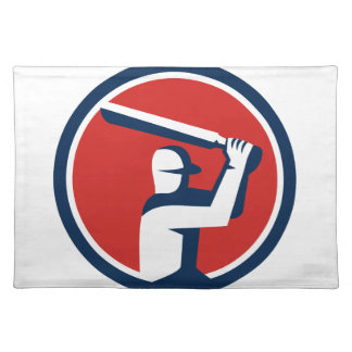 Cricket Player Batting Circle Retro Placemat