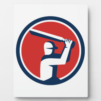 Cricket Player Batting Circle Retro Plaque