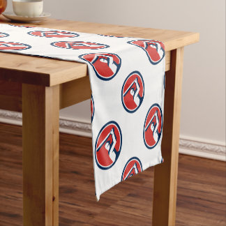Cricket Player Batting Circle Retro Short Table Runner