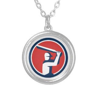 Cricket Player Batting Circle Retro Silver Plated Necklace